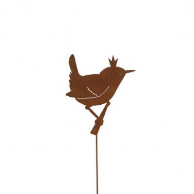 kovový zápich ptáček s korunkou