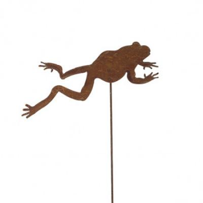 zahradní kovový zápich s patinou - žába